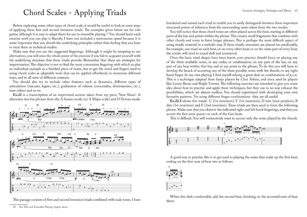 A two-page spread from Improvisation for Classical, Fingerstyle and Jazz Guitar, showing the music notation which accompanies the text.