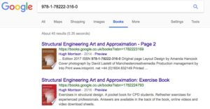 A screen shot of Structural Engineering and the Art of Approximation on google book search