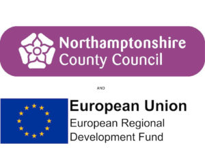 Logos of Northampton County Council and European Union European Regional Development Fund